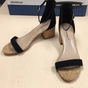Shoes - Size 7 cork and suede heeled sandals